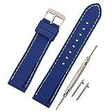 Vinband Correa Silicona Reloj Correa Suave Reemplazo de Banda de Acero Inoxidable Hebilla - 18, 20, 22, 24 mm Correas de Cuero para Reloj (22mm, Azul Profundo)