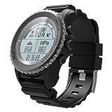 Mamum Herren Armbanduhr, multifunktional, IP68wasserdicht, Sport, Smartwatch, unterstützt GPS, Luftdruck, Anrufe, Herzfrequenz, Sport, Schwarz/Rot/Grau Einheitsgröße Schwarz