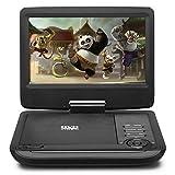 HKC 9 Zoll Portable DVD-Player D09HM01, schwenkbarer Bildschirm, SD-Karte, USB-Anschluss mit Akku, Fernbedienung, Auto-Ladegerät enthalten - Schwarz