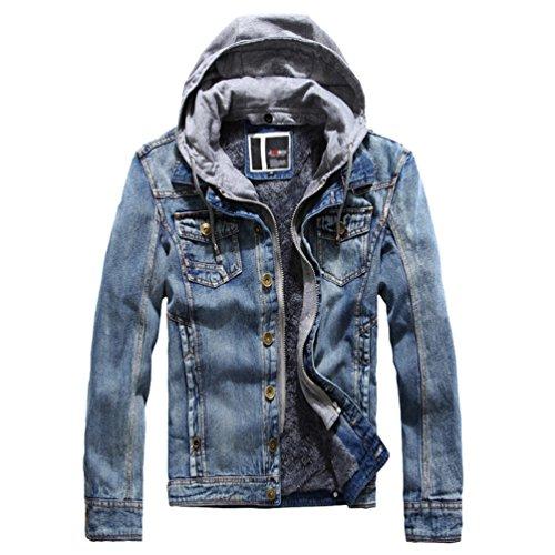 Baymate uomo inverno giacca di jeans con cappuccio cappotto outwear casual imbottita denim giubbotto manica lunga