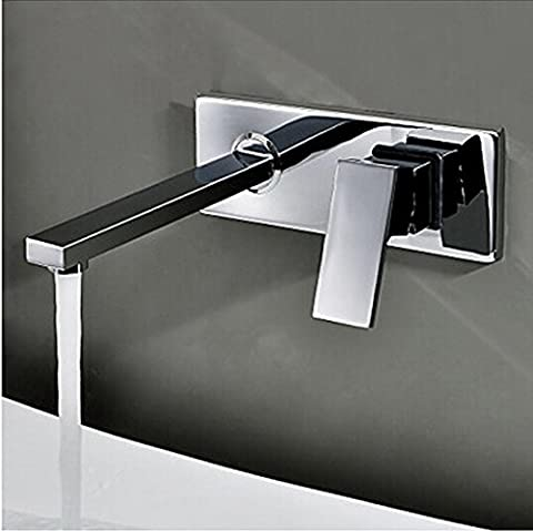 Deluxe Faucet Free Shipping Into The Wall Washbasin Water Tap Three Piece Set Flush Faucet Bathroom Cabinet Basin Mixer Br-320,Chrome