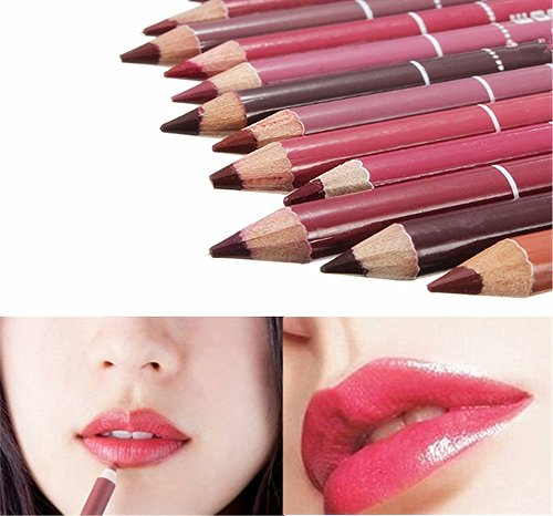 Susenstone 12PCs Ensemble Imperméable à l'eau Maquillage Professionnel Féminin Crayon a Levres Lip Liner