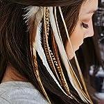 KAZAEE 10 Extensions plumes Moon XL 20-25 cm 100% naturel pour cheveux + anneaux fixation offerts