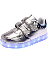 Myroads Unisex Child Niños Niñas 7 Color USB Carga LED Luz Glow Luminosos Light Up Velcro Flashing Sneakers Zapatos Infantiles Deportivos Zapatillas de Deporte