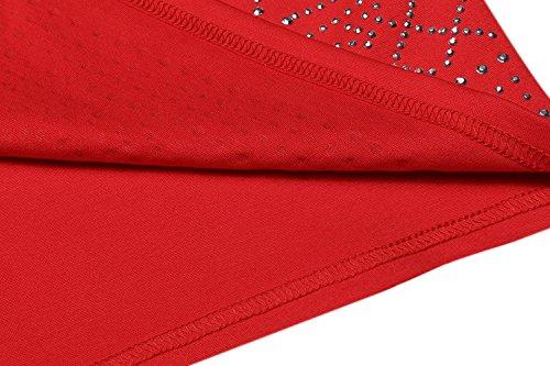 Meaneor Damen Kleid Diamant Pailletten Etuikleider Abendkleider Bodycon Cocktail Sexy Party Gatsby Flapper Clubwear Rot