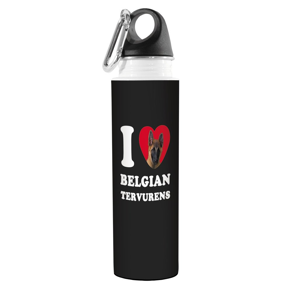 Tree-Free Greetings VB49009 I Heart Belgian Tervurens Artful Traveler Stainless Water Bottle, 18-Ounce