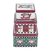 Regalo di Natale Scatola di nidificazione in latta Biscotto di Natale Quadrato Supporto assortito Vacanze a tema Barattolo di caramelle 3 Set per bomboniere Forniture Carta Cioccolato(Rosso)