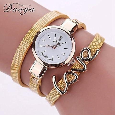Nusey (TM) Duoya Brand New Lover cuoio casuale del braccialetto di vigilanza del vestito dalle donne di polso orologi Amore braccialetto variopinto di vigilanza dell'amante 1 *