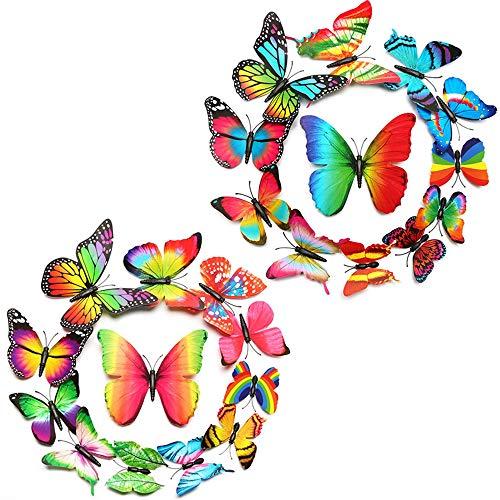 Wandtatoos Schmetterling Schmetterlinge Deko Schmetterling Wanddeko Butterfly Wandsticker Schmetterlinge Aufkleber Abziehbilder Balkon Deko Raumdekoration Klebepunkten + Magnet ()