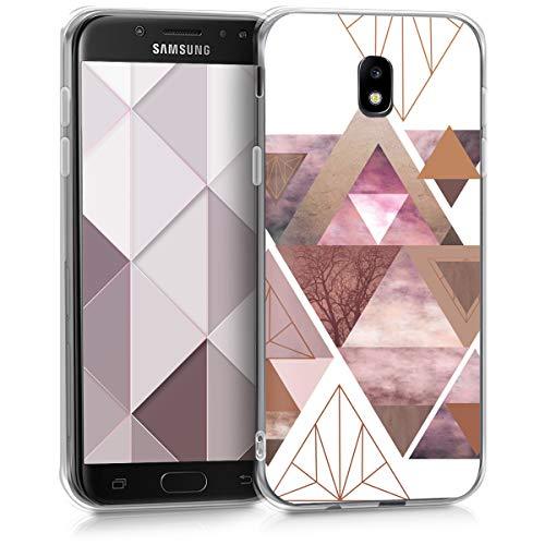 kwmobile Samsung Galaxy J5 (2017) DUOS Hülle - Handyhülle für Samsung Galaxy J5 (2017) DUOS - Handy Case in Glory Dreieck Muster Design Rosa Rosegold Weiß
