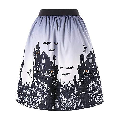 JiaMeng Damen Print Minikleider Halloween Tag Ombre Schloss Printed Swing Performance A-Line Rock Kleid Halloween Halloween Kostüm