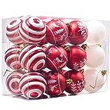 Valery Madelyn 24 Stücke 6CM Kunststoff Weihnachtskugeln Lieber Weihnachtsmann Thema Rot Weiß Christbaumkugeln Weihnachtsbaumschmuck Set mit Aufhänger Weihnachtsdekoration