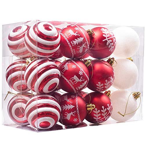 Valery madelyn christmas baubles set 6cm 24 pezzi rosso bianco lucido scintillante glassato di plastica palline di natale con gancio decorazioni albero di natale decorazione natalizia per matrimoni