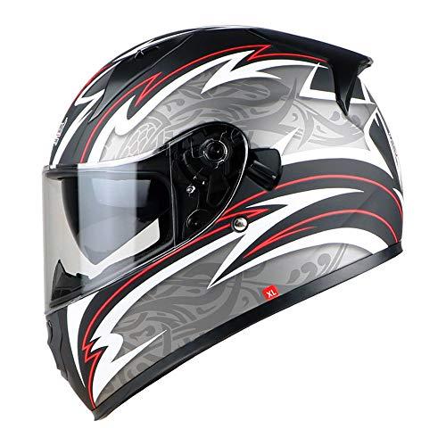 NAN® Casco Moto Casco Modulare Bluetooth Anti-Collisione Antiappannamento Doppio Specchio Flip Frontale Casco Integrale Casco Moto, (M, L, XL, XXL),Argento,XL