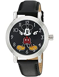 Disney Women's 'Mickey Mouse' Quartz Metal Automatic Watch, Color: Black (Model: W002757)