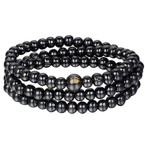 Flongo Gebetskette Buddhismus Holzarmband Tibetische Schmuck Perlenarmband für Herren Damen Sandelholz Gebetsperle Mala Armband Halskette Schwarz Buddha 6mm Breit