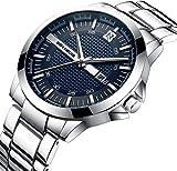 A ALPS Herren Uhren Business-Stil Mode Wasserdicht Kalender Analog Quarzuhr mit Edelstahl Armband Silber Blau