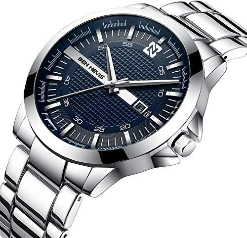 Herren Uhren Business-Stil Mode Wasserdicht Kalender Analog Quarzuhr mit Edelstahl Armband Silber Blau