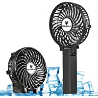 Maxesla Hand Held Portable Electric Rechargeable Battery, 3 Speed Operation, Mobie Foldable Handle Small USB Fans for Home and Travel.