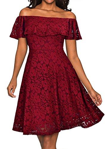 MIUSOL Damen Vintage 1950er Cocktailkleid Retro Spitzen Off Schulter Schwingen Pinup Rockabilly Abendkleid Rot Gr.S - 3