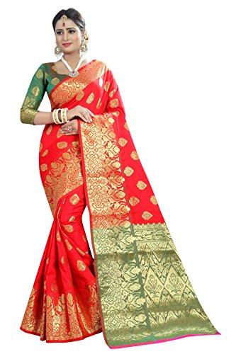 Kalapy Fashion Banarasi Silk Saree With Blouse Piece (Red_Free Size)