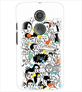 PrintDhaba MULTI FACE PATTERN D-6725 Back Case Cover for MOTOROLA MOTO X2 (Multi-Coloured)