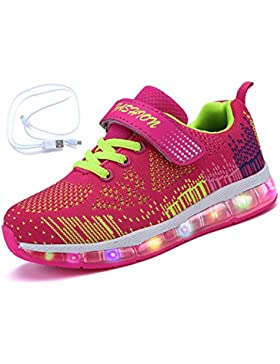 Mr.Ang Zapatos LED Deportivos Para Niños Niñas 7 Color USB Carga LED Luz Glow Luminosos Zappatillas Light Up USB...