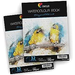 """2 x Bloc de Papier Aquarelle pour Peintures Aquarelles - Format A4 (9"""" x 12"""") - 2 x 32 Feuille Blanche 300g - Lot de 2 Carnet Papier à Dessin et Peinture Aquarelle pour Artistes et Loisir Créatifs"""