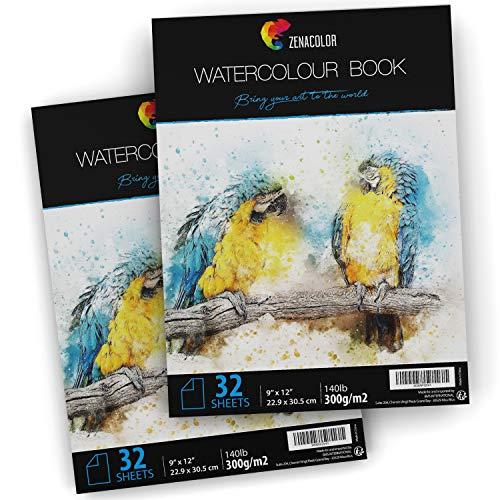 2 x Album da Disegno per Acquerello per Pittura ad Acquerello - Formato A4 (9' x 12') - 2 x 32 Fogli Bianchi 300g - Set 2 Album di Fogli da Disegno e Pittura ad Acquerello per Artisti e Creativi