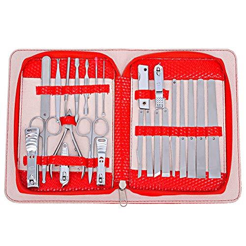 XINTD Maniküre-Set 24 in 1, Edelstahl-Pflegeset inkl. Nagelknipser-Set und Pediküre-Tools mit Leder-Reiseetui für Damen Herren