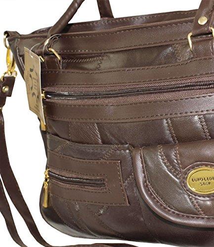 Damen Patchwork Handtasche Vintage Tasche mit zusätzlichem verlängerbaren Henkel Henkeltasche Shopper Schultertasche Umhängetasche mehrfarbig DH0001 (Mehrfarbig) Mocca