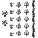 Ventvinal Adaptador Rosca Tripode 22 Piezas Adaptadores de Metal Convierten Tornillos 1/4' a 3/8' para Trípode, Monopie,Cámara Réflex Digital,Videocámara, Soporte de Luz