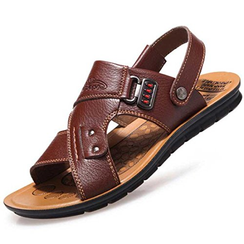Men's Slip On Pu Leather Casual Sandals brown