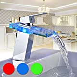 Auralum® Rubinetto Glass LED RGB rubinetto LAVABO per bagno/bagno/cucina