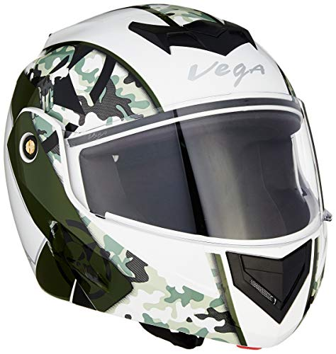 Vega Crux DX Camouflage Flip-Up Helmet (White and Battle Green, Medium)
