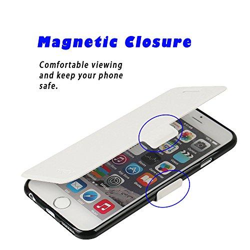 iPhone 5s Hülle, iPhone 5 Hülle, iPhone SE Hülle, MTRONX Case Cover Schutzhülle Tasche Etui Klapphülle Magnetisch Premium PU Leder Weich TPU Folio Flip Ständer und Kartenfach für Apple iPhone SE iPhon Weiß