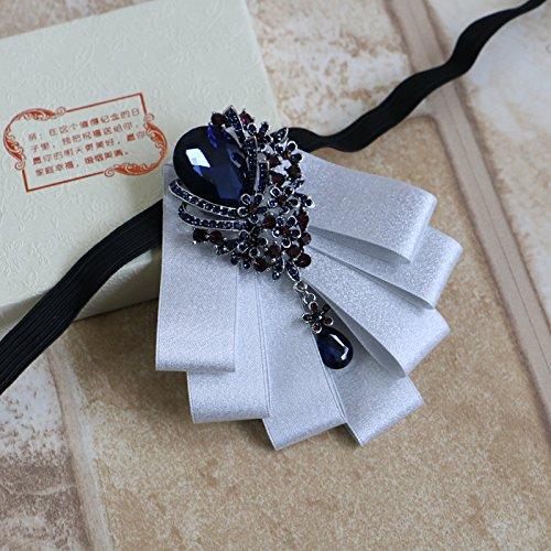 """lpkone-""""rafraîchir"""" premium coréen robe Bow tie diamond flower collar City Boy de se marier le marié noeud papillon boîte-cadeau Silver"""