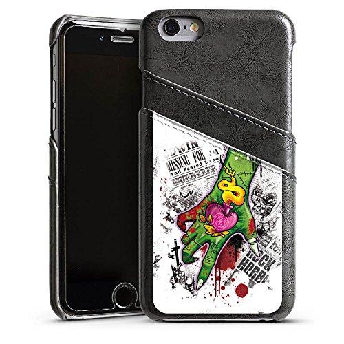 Apple iPhone 5s Housse Étui Protection Coque Tatouage Zombie Zombie Étui en cuir gris
