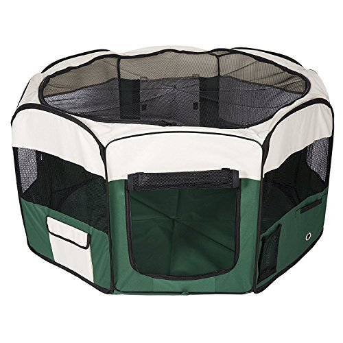 Maxmer Fabric Pet Play Pen Portable Foldable Soft Baby Dog Cat Play House Puppy Rabbit Run Exercise Cage, Green Large