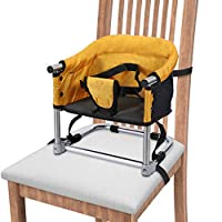 Portable Booster Seat, Booster Feeding Seat W/Carrying Bag |Folding High Chair for Home & Travel, Toddler Booster Chair Straps to Kitchen Dinner Table ...