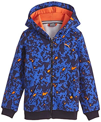 Puma Fun TD Graphic Hooded Jacket Sweat, enfant, bébé, Fun Td Graphic Hooded Jacket, Bleu marine/surf the web/orange vermillon/aop