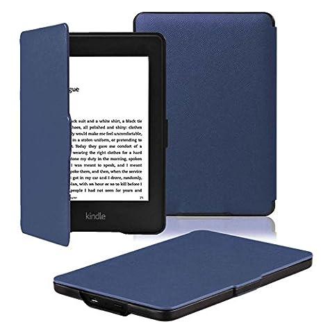 OMOTON Étui Housse Kindle Paperwhite Cuir PU Léger- Générations 2012, 2013, 2014 Et 2015 All-new 300 PPI Version Cover Bleu Marin