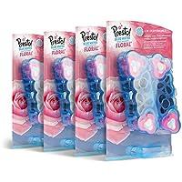 Marque Amazon - Presto!  Blocs WC floral - eau bleue - Pack de 4