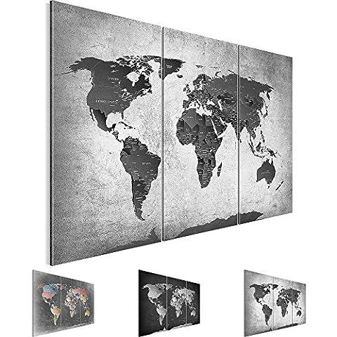 Bilder 120 x 80 cm - Weltkarte Bild - Vlies Leinwand - Kunstdrucke -Wandbild - XXL Format – mehrere Farben und Größen im Shop - Fertig Aufgespannt !!! 100% MADE IN GERMANY !!! - Kontinent – Welt – Landkarte 107631c