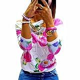 QIYUN.Z Frauen Winter/Herbst Rose Drucken Hoddies T-Shirt Mit Langen Aermeln Baumwollmischungen
