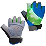 Auchee LED Blinkerhandschuhe | Waschbar | Batterie austauschbar | Stoßdämpfende SBR-Pad | Silica Gel Grip | Breathable Lycra Half Finger Handschuhe für BMX Mountain Bicycle Bike Road Racing (Green, M)