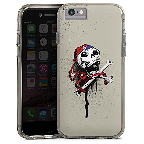 Apple iPhone 6 Bumper Hülle Bumper Case Glitzer Hülle Pirat Death Tod Bumper Case transparent grau