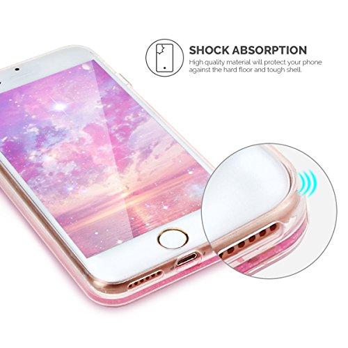 Coque iPhone 7 / 8, SpiritSun Bling Bling Etui Coque de Protection Ultra Fine TPU Transparent Housse pour iPhone 7 / 8 (4.7 pouces) Glitter Liquide Etui Coque en Cœurs Paillettes Sable Flexible Soft C Fille