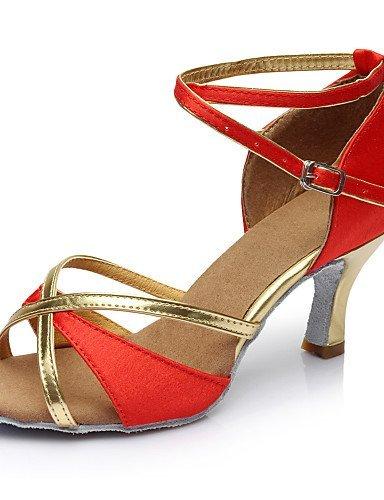 ShangYi Chaussures de danse ( Noir / Bleu / Marron / Rouge ) - Personnalisables - Talon Personnalisé - Satin - Latine / Salsa / Samba Black