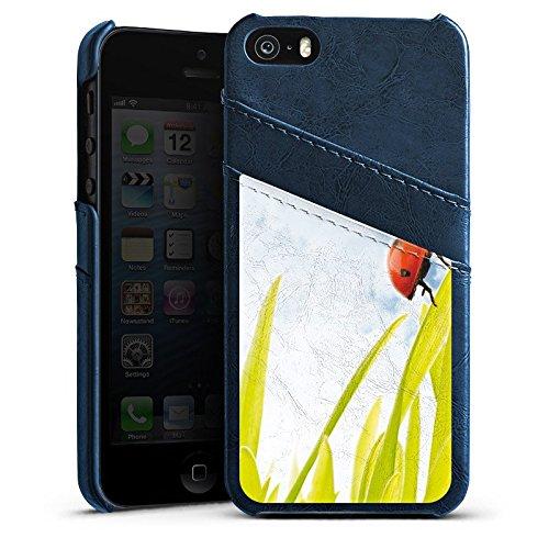Apple iPhone 5s Housse Étui Protection Coque Brin d'herbe Coccinelle Ciel Étui en cuir bleu marine